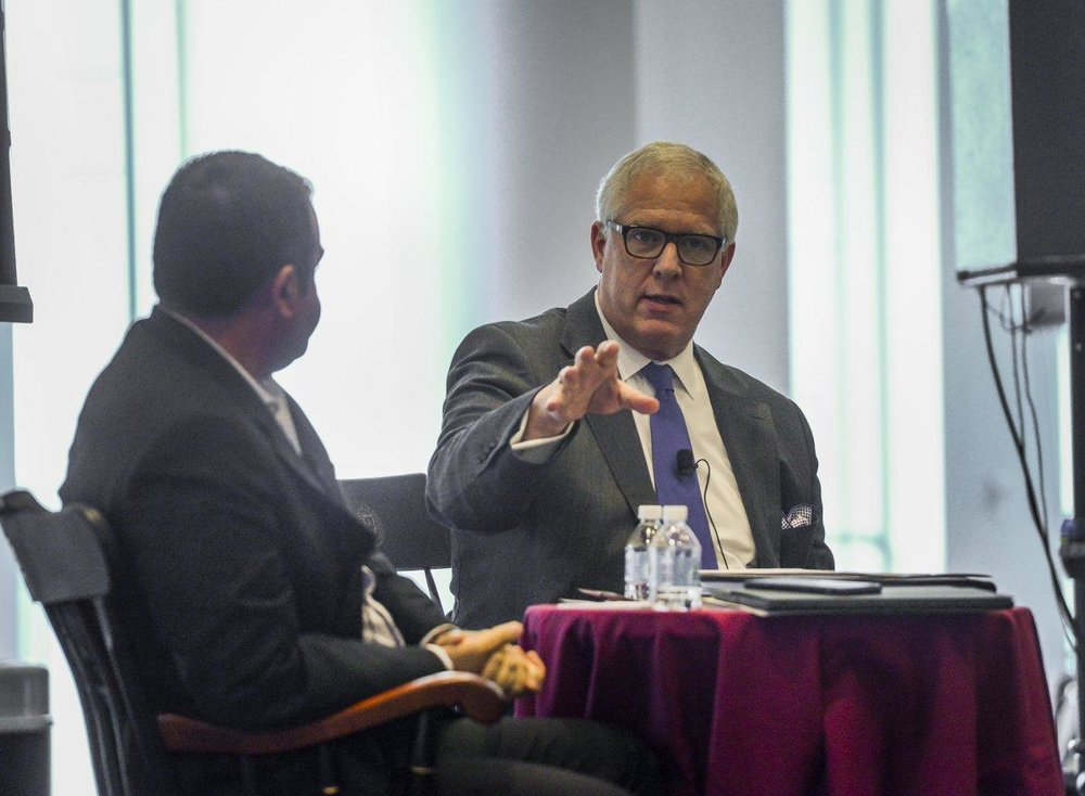 NYPD Deputy Commissioner of Intelligence and Counterterrorism John Miller dissected the Islamic State's recruiting success during a discussion with former FBI agent Ali Soufan at the Fordham University School of Law. Photo: ANTHONY DELMUNDO/NEW YORK DAILY NEWS