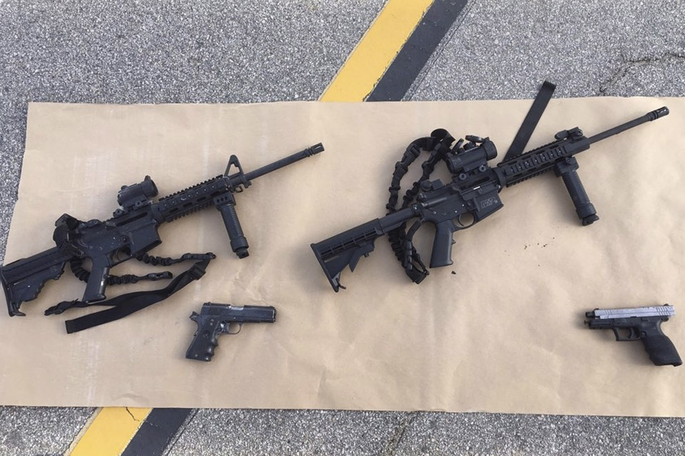 Weapons confiscated from the attack in San Bernardino. Photo:REUTERS/San Bernardino County Sheriffs Department