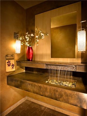 custom sink, concrete, phoenix, Arizona, scottsdale, stained sink, waterfall sink,