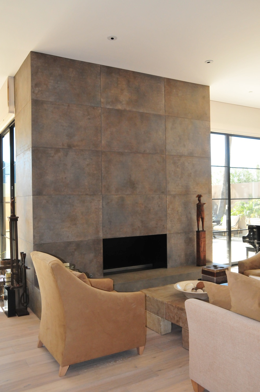 concrete wall, custom, fireplace, stained concrete,