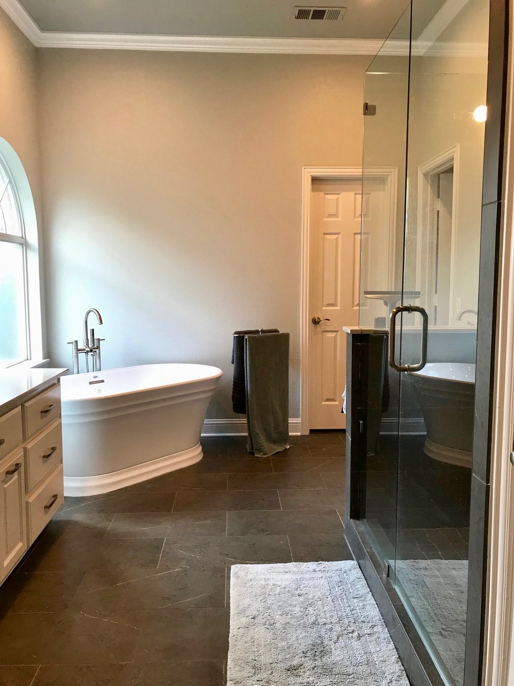 Stand Alone Tub + Porcelain Tile Installation