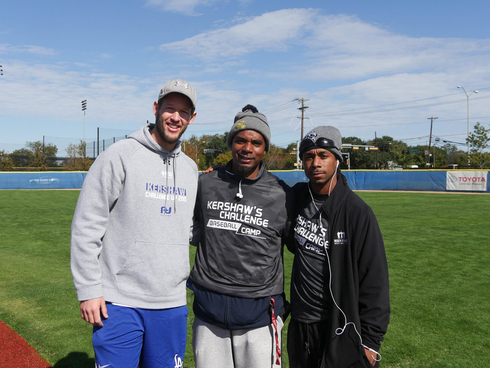 From left to right: Clayton Kershaw, Lee Jackson (Director of Sports), Sean Montgomery (Sports Coordinator).