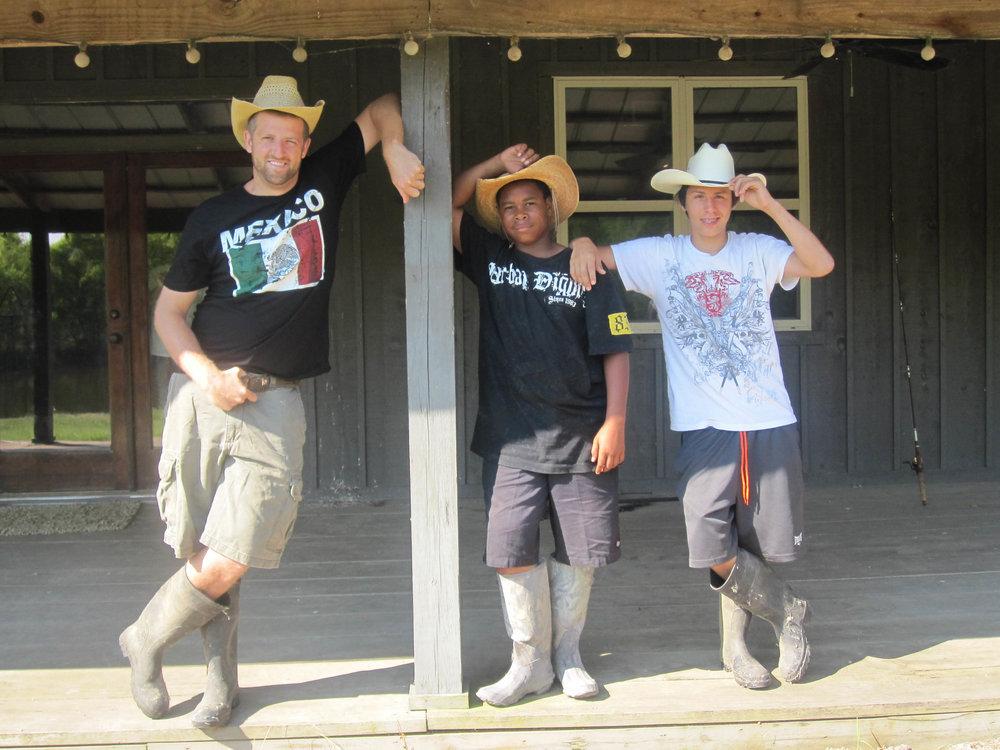 Garrett, Bobo, and Oscar in their best Western gear.