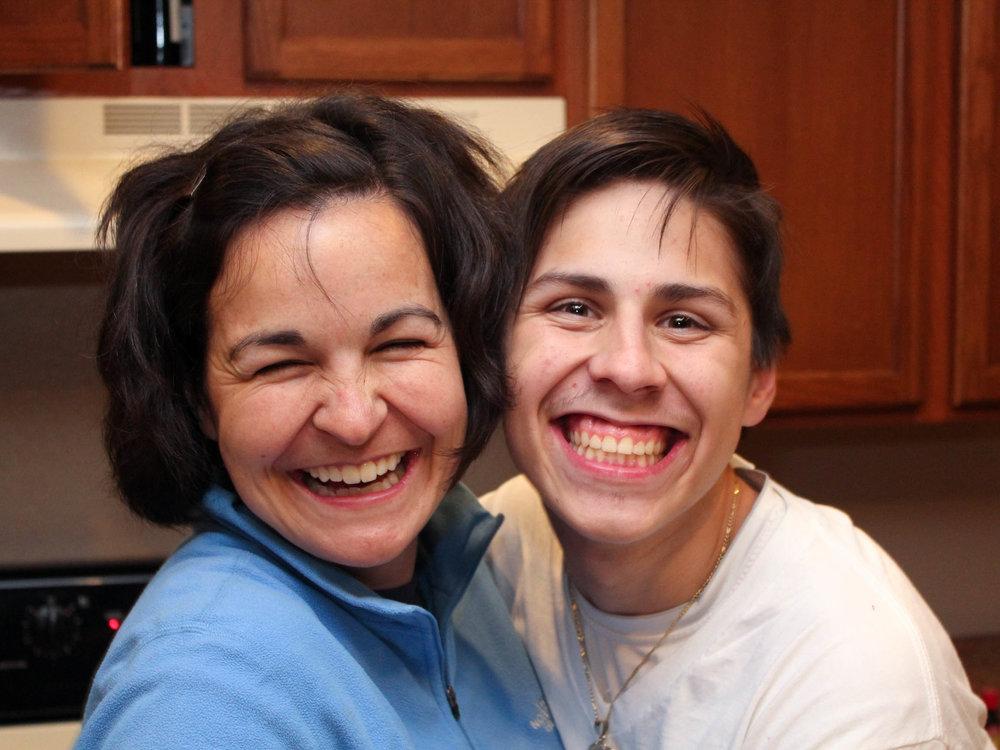 "Oscar with Garrett's wife, Mindy (""momma"")."