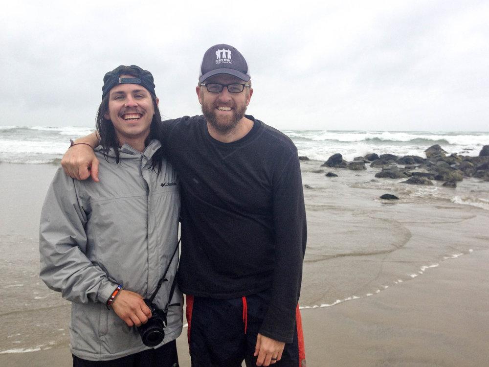 Oscar and Garrett on the coast of Oregon in 2017.
