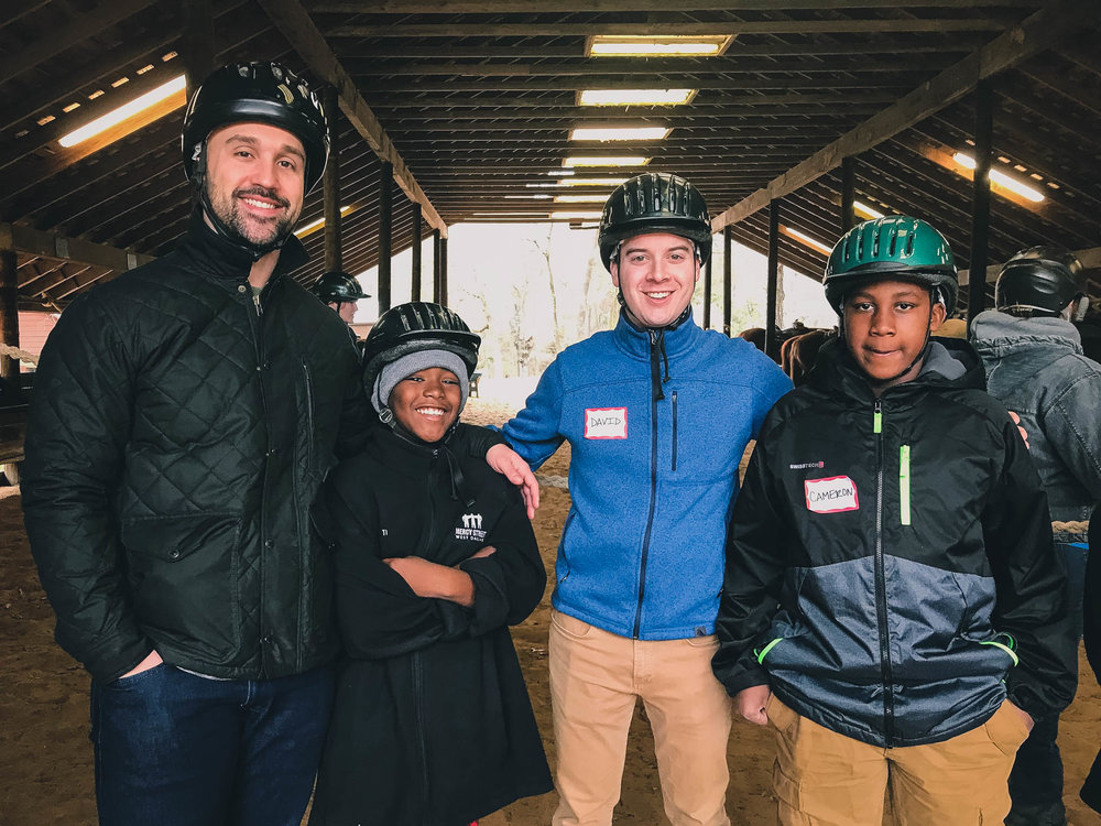 Bobby and DJ went horseback riding at the Mercy Street Pine Cove Retreat!