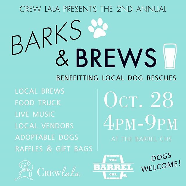 Come get some goodies and support local animal resuce groups at @crewlala 's second annual #barksandbrews  #dogs #local #shoplocal #charleston #brews #animalrescue #jamesisland #follybeach #fun