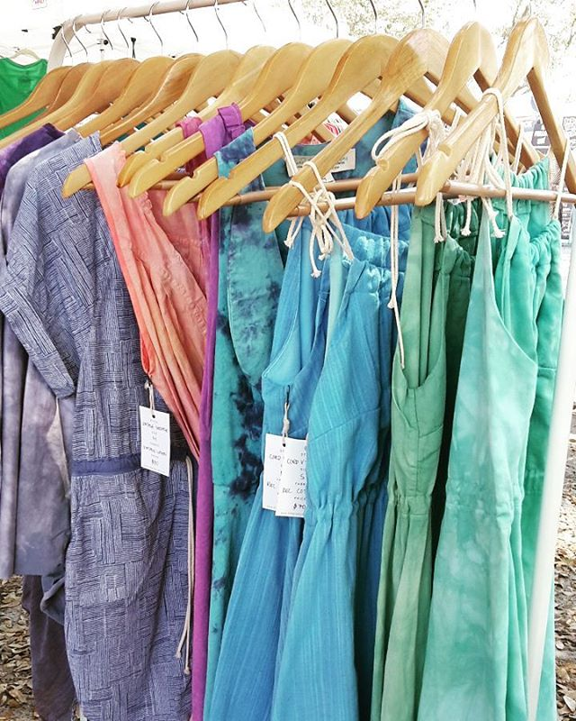 Spring has sprung and we are finally back at @sundaybrunchfarmersmarket!  Come get pretty for spring!! #madeincharleston #handmade #handdyed #sustainable #reclaimed