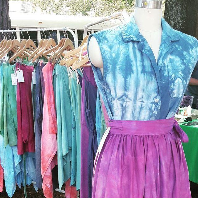 Poppin up at @sundaybrunchfarmersmarket  #handdyed #shopsmall #sustainable #reclaimed #wrapskirt #tiedye