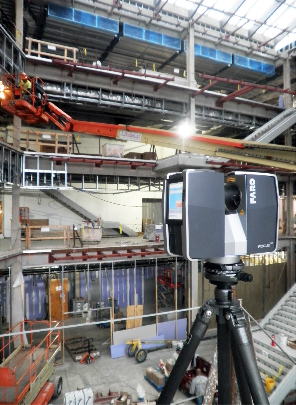 CW Keller's Faro Focus3D scanning the existing site.    Photo: CW Keller & Associates