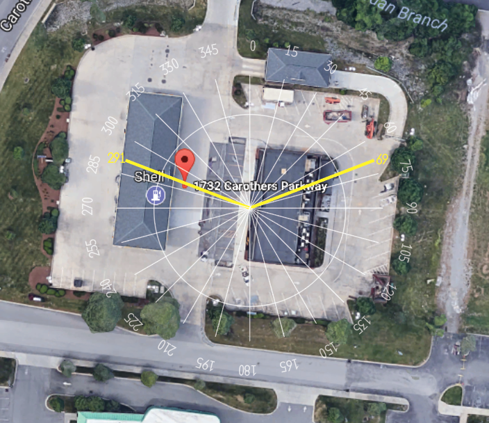 Here's a compass overlay I created for a shoot of a Twice Daily gas station last year. 69-degrees was the sunrise heading and 291-degrees was the sunset heading on shoot day.