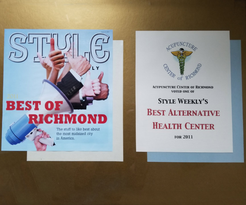 2011 Remee's Acupuncture wins Style Weekly's Best of Richmond: Best Alternative Health Center.