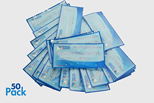 ClinicalGuard® HCG Pregnancy Test Strips  - Individually-Sealed, Pack of 50. Test strips have sensitivity of 25 mIU, or 25 ng/L.