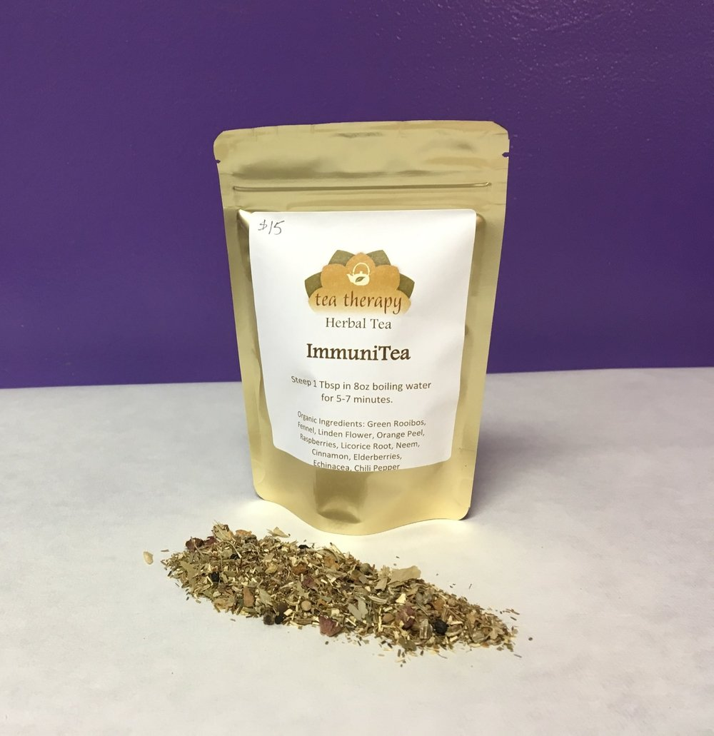 ImmuniTea - Herbal tea - non-caffeinated - Organic Ingredients: Green Rooibos, Fennel, Linden Flower, Orange Peel, Raspberries, Licorice Root, Neem, Cinnamon, Elderberries, Echinacea, Chili Pepper