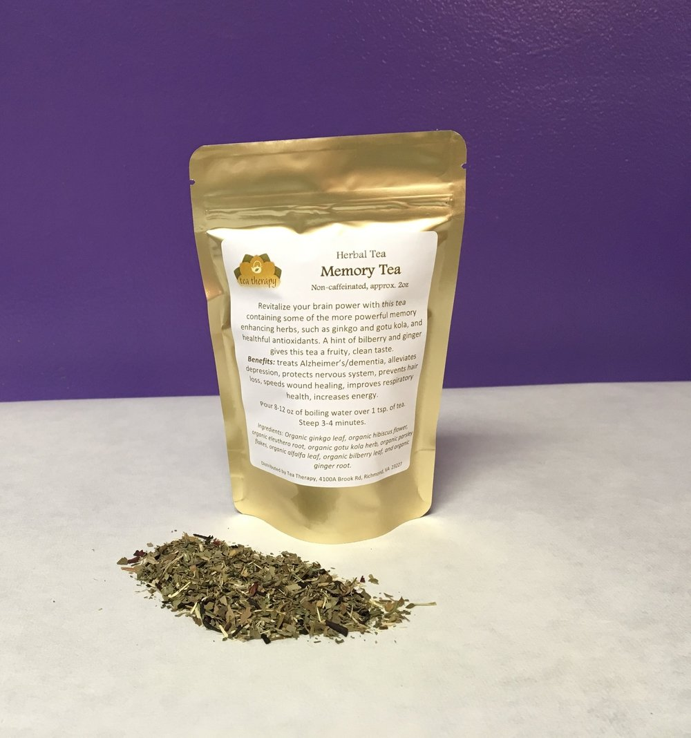 Memory Tea - Herbal tea – non-caffeinated - Revitalize your brain power with this tea containing some of the more powerful memory enhancing herbs, such as ginkgo and gotu kola, and healthful antioxidants. A hint of bilberry and ginger gives this tea a fruity, clean taste. Benefits: treats Alzheimer's/dementia, alleviates depression, protects nervous system, prevents hair loss, speeds wound healing, improves respiratory health, increases energy. Ingredients: Organic ginkgo leaf, organic hibiscus flower, organic eleuthero root, organic gotu kola herb, organic parsley flakes, organic alfalfa leaf, organic bilberry leaf, and organic ginger root