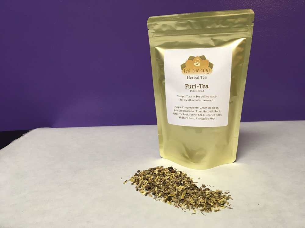 Puri-Tea - Herbal tea – non-caffeinated – detox blend - Organic Ingredients: Green Rooibos, Roasted Dandelion Root, Burdock Root, Barberry Root, Fennel Seed, Licorice Root, Rhubarb Root, Astragalus Root