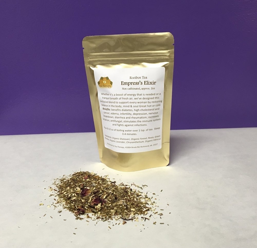 Empress's Elixir - Rooibos tea – non-caffeinated - Whether it's a boost of energy that is needed or a tranquil breath of fresh air, we've designed this exclusive blend to support every woman by restoring balance in the body, mind & soul Great hot or cold. Benefits: benefits diabetes, high cholesterol and cancer, edema, infertility, depression, nervous breakdown, diarrhea and rheumatism; increases lactation; antifungal; stimulates the immune system and fights against infections. Ingredients: Organic Shatavari, Organic Fennel, Roses, Green Rooibos, Organic Lavender, Chrysanthemum, Organic Hibiscus