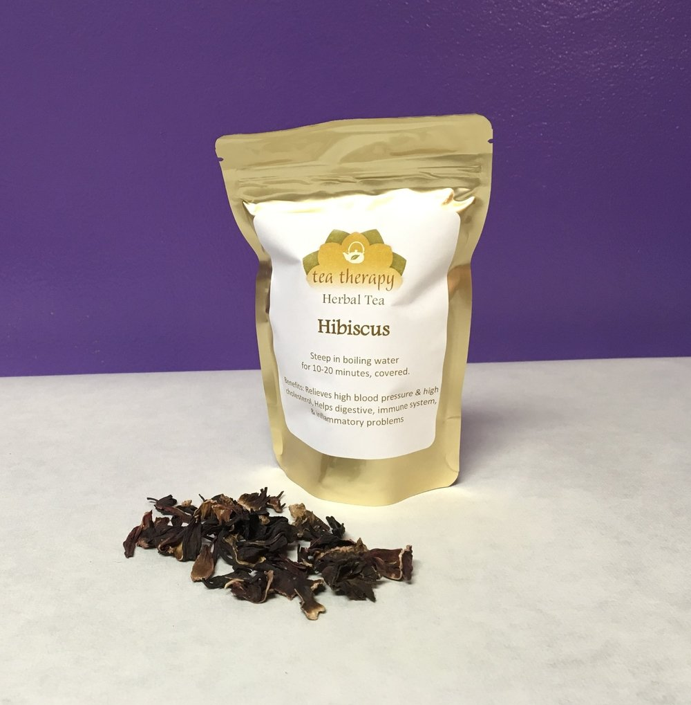 Hibiscus - Herbal tea – non-caffeinated – Benefits: Relieves high blood pressure and high cholesterol, helps digestive and immune systems, relieves inflammatory problems.