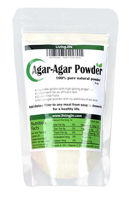Agar Agar Powder 4OZ - 4oz, 100% pure natural powder, 700 strengh/cm2 + A Vegetable Gelatin + Gluten Free
