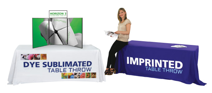 Cap City Repro offers Printed Trade Show and Event Table Throws and Table Covers that make a visual impact and compliment your Display Accessories.
