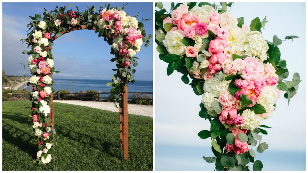 Words can't describe how beautiful this ceremony arch was for this elegant seaside wedding.  This asymmetrical design along with combination of gorgeous variations of textural blooms in shades of pink made this the perfect focal point for the ceremony overlooking the beautiful Santa Barbara coastline. Florist: Rock Rose   Photo:  Mirelle Carmichael         Venue: Bacara Resort