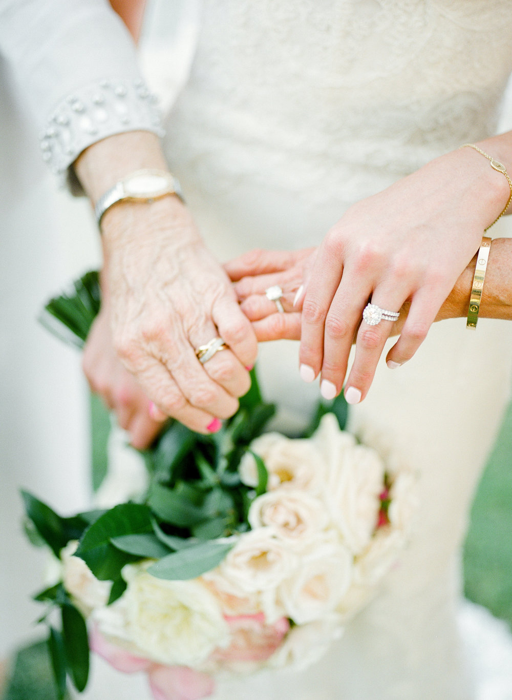 grandmother, mother, and bride wedding rings