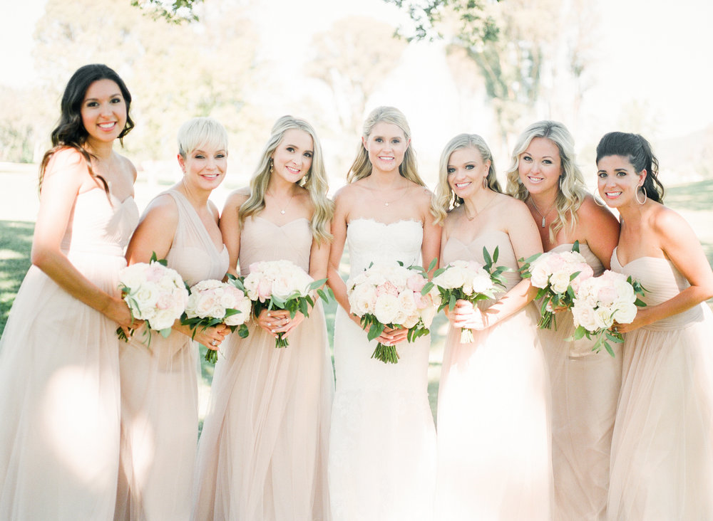 bride with bridesmaids in blush gowns