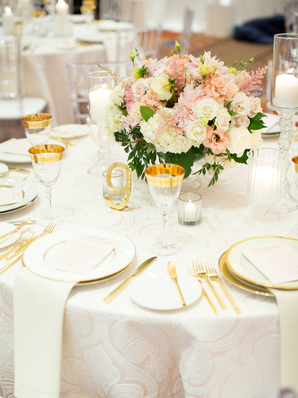 blush and gold wedding reception details