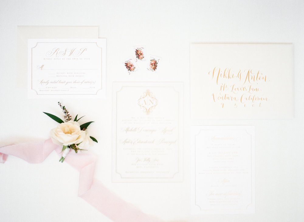 elegant Ojai Valley Inn wedding blush and gold invitation suite