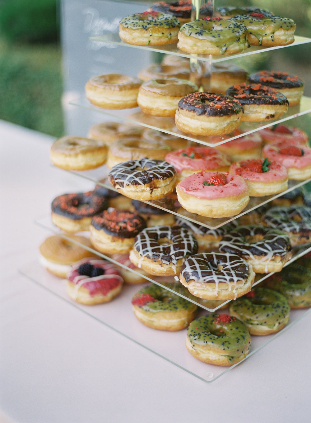gourmet donut tower wedding dessert