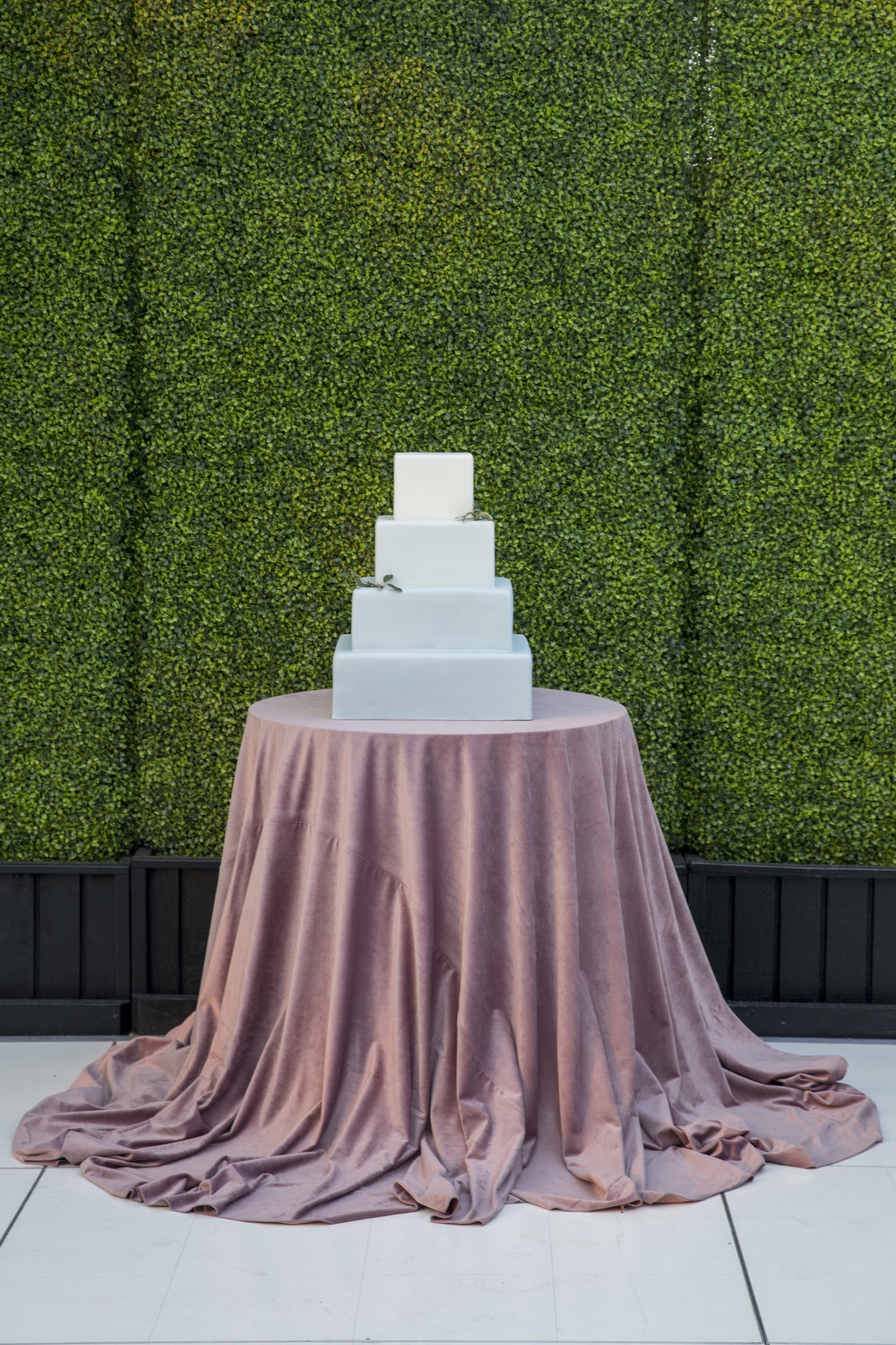 square tiered blue and white ombre wedding cake