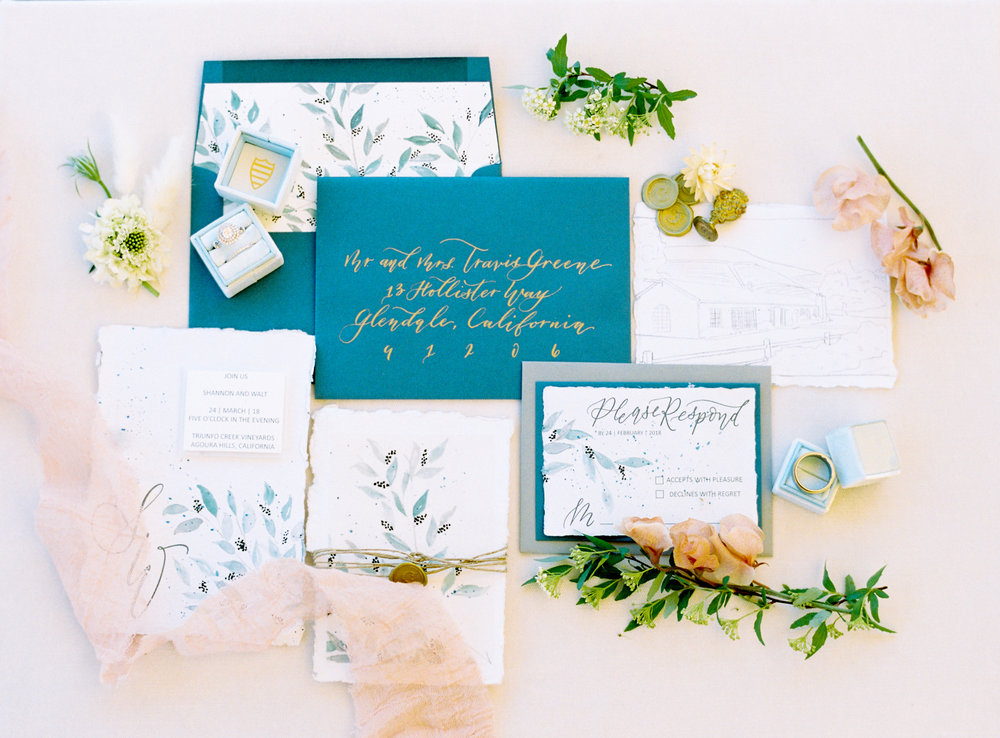 blue and white watercolor wedding invitation suite