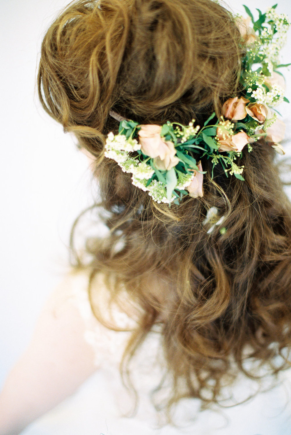 natural bridal hair with floral crown