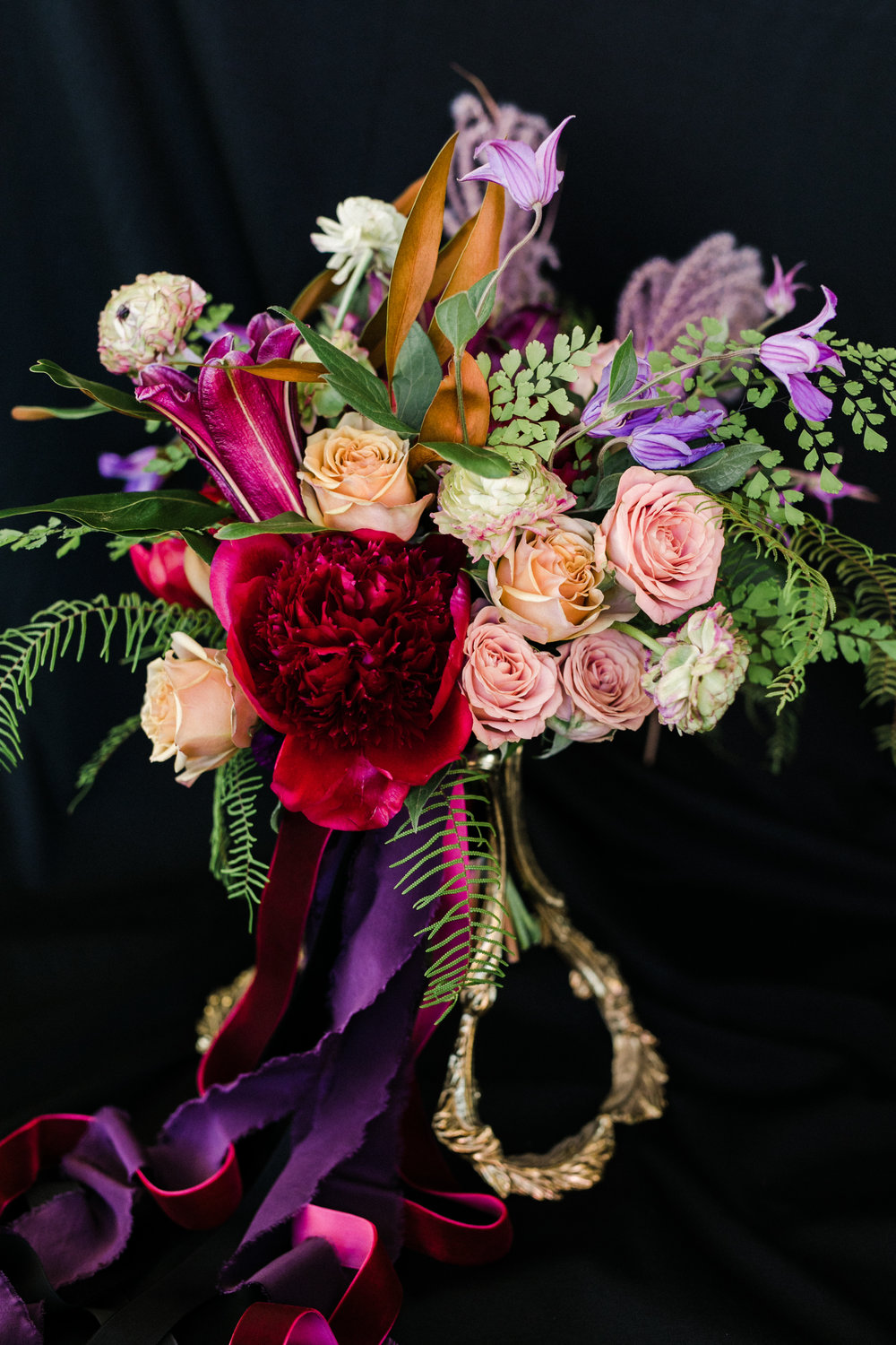 jewel-toned bridal bouquet