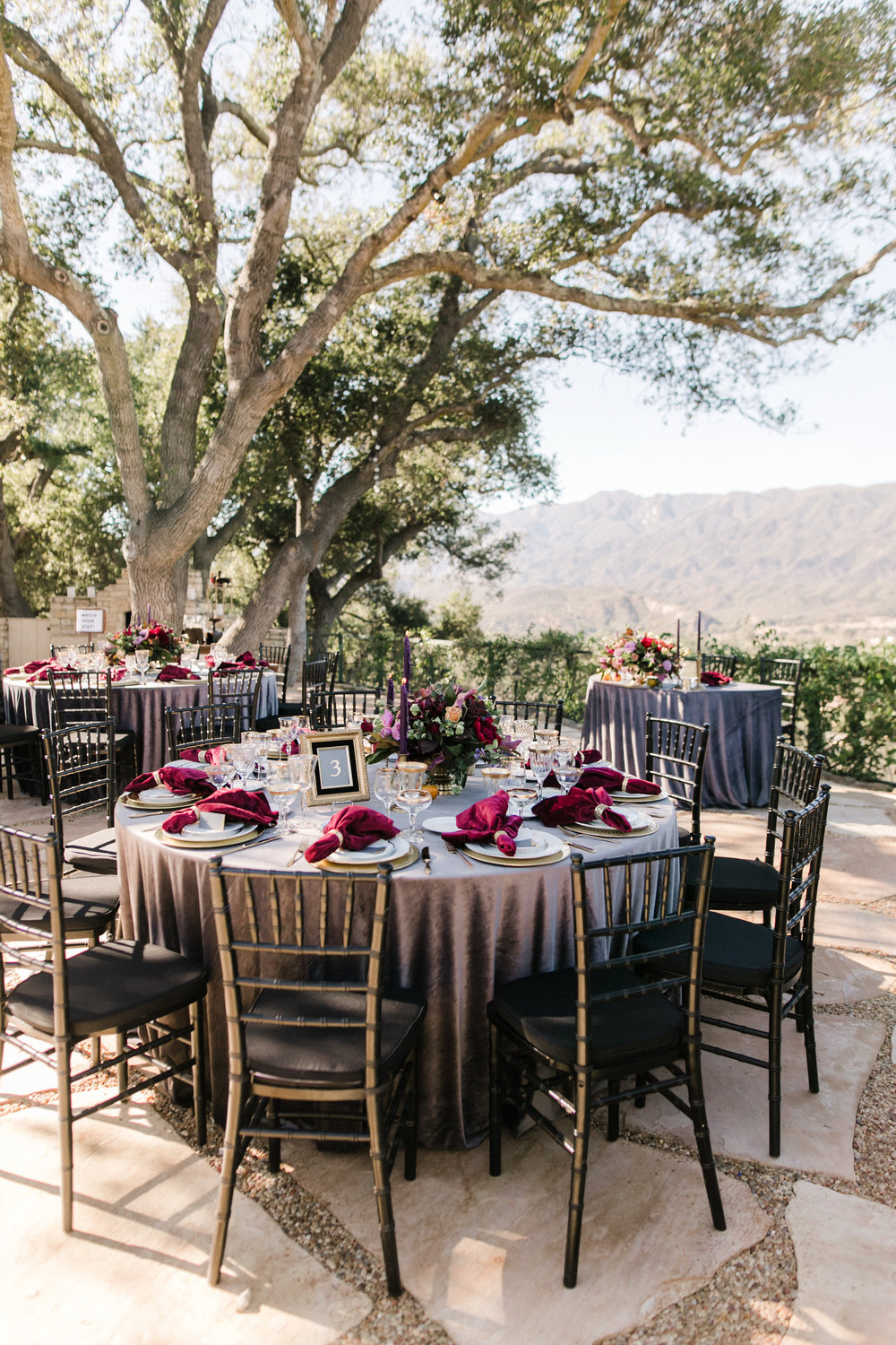 moody outdoor reception tables