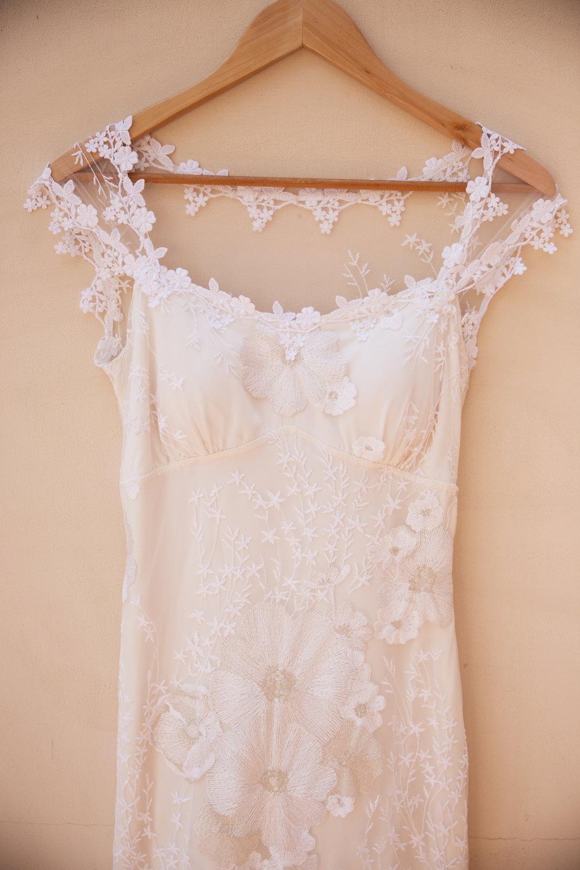 floral appliqué wedding dress