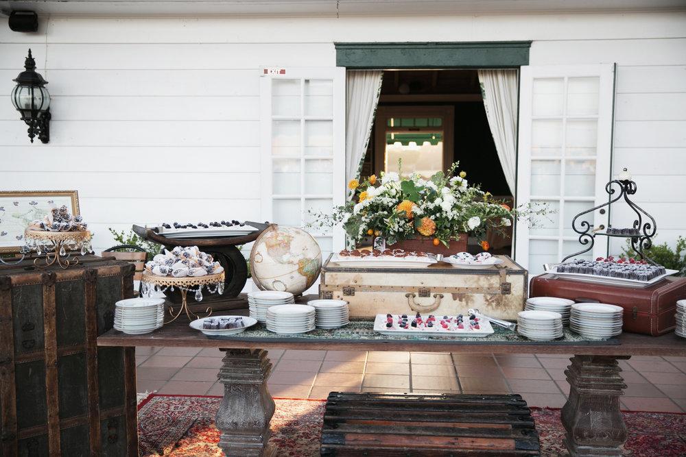 travel-themed dessert table