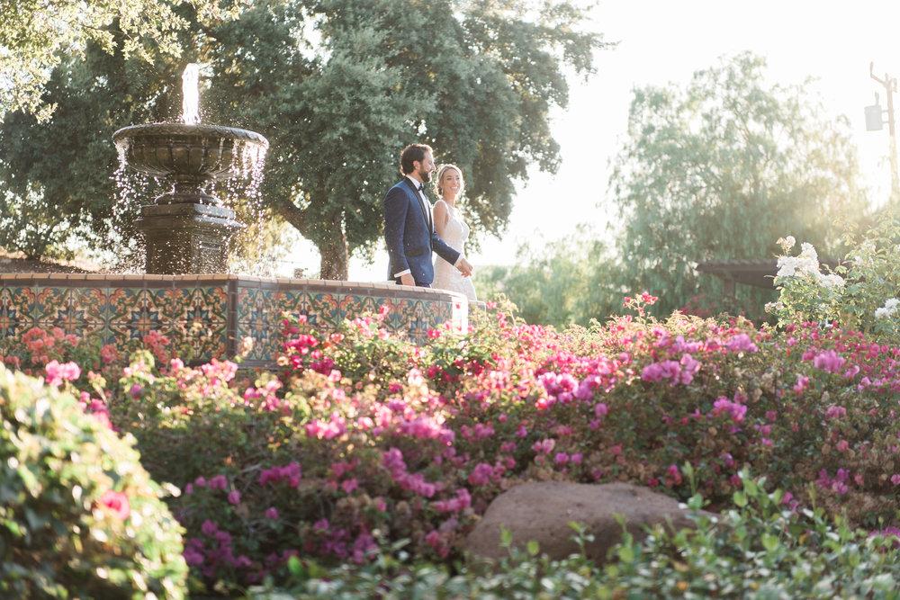 bride and groom golden hour garden stroll