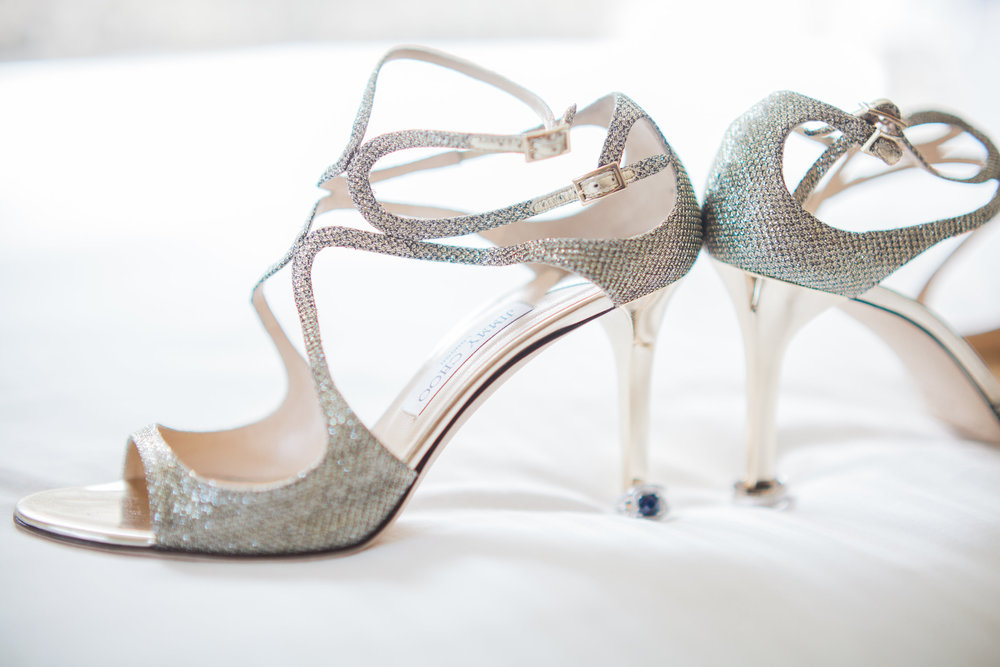 strappy silver wedding shoe