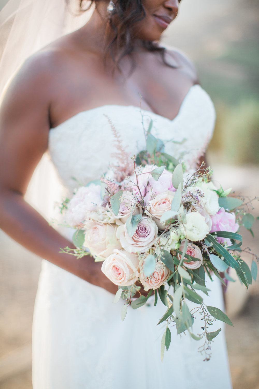 blush and purple bridal bouquet with eucapyptus