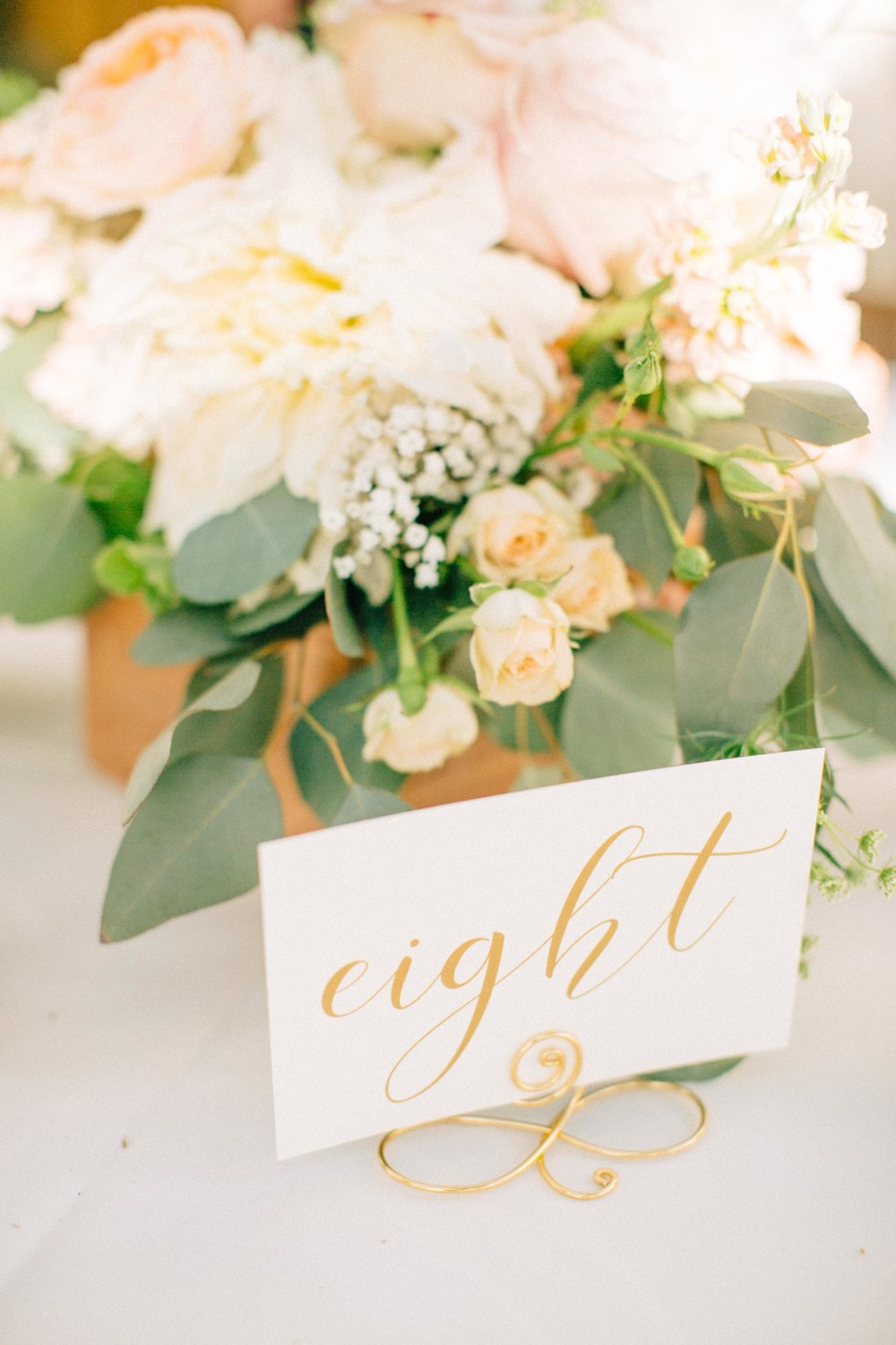 gold calligraphed table number