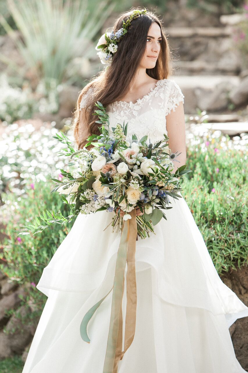 Whites, Creams and Blues Wedding Bouquet