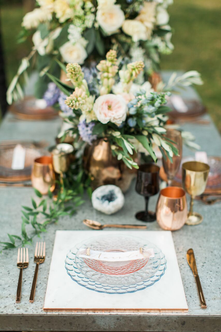COpper and Glass Wedding Table