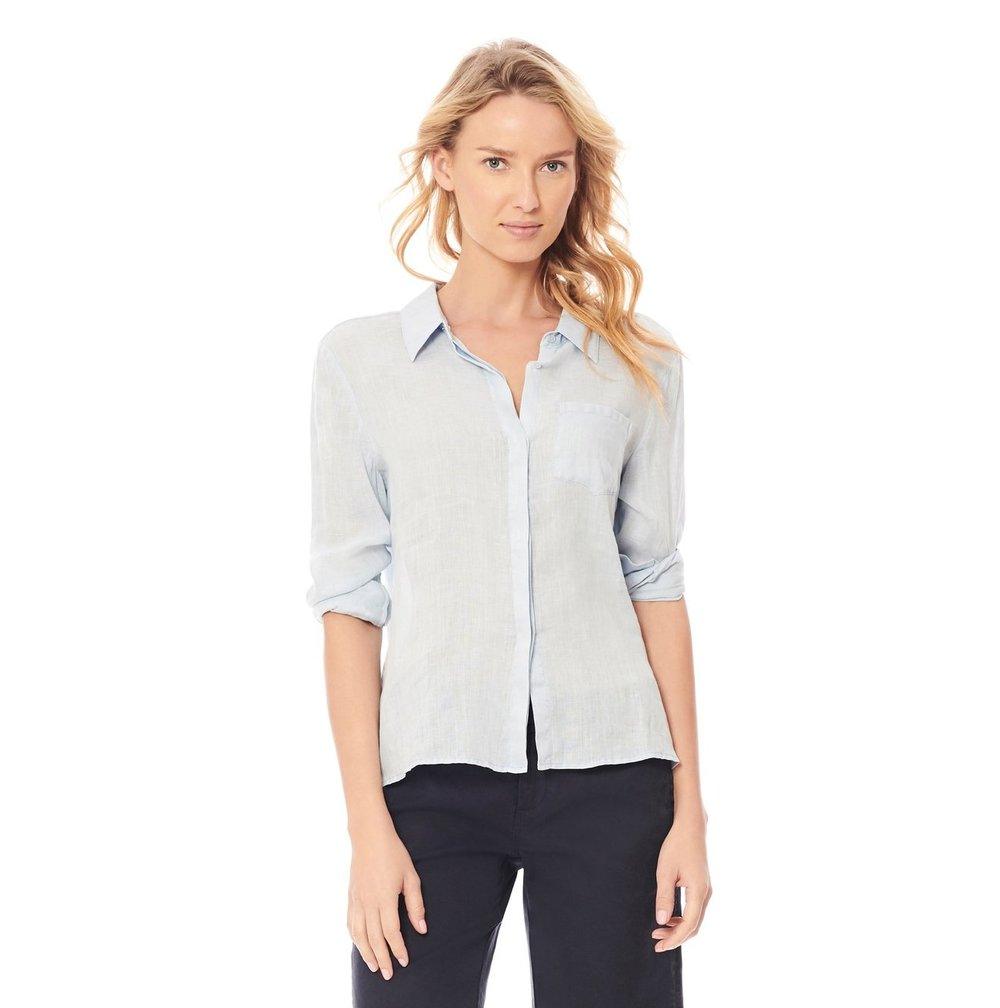 Ecru  Streep Linen Top (Chambray)