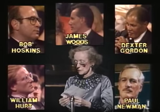 Legendary actress Bette Davis announces the nominees for Best Actor for a Leading Role at the 1987 Academy Awards. I was sitting right next to Dexter. ;-)