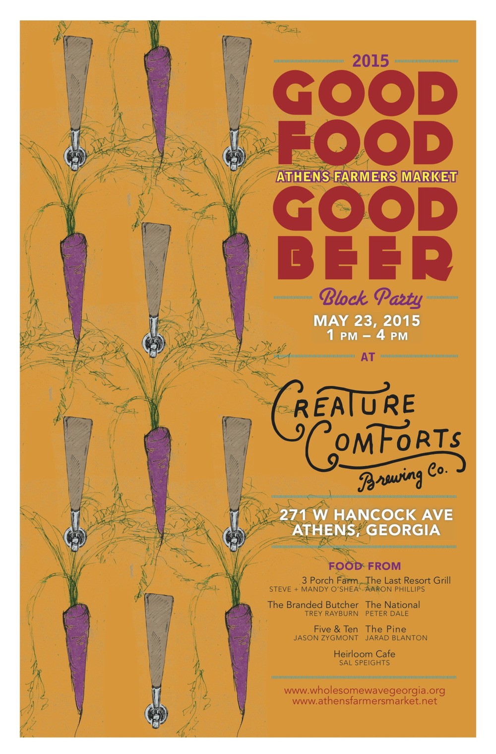 "Join us for good food, good beer, good people, and good music, all to benefit a good cause. All proceeds go to Wholesome Wave Georgia and the Athens Farmers Market SNAP doubling program. Sponsored and hosted by Creature Comforts Brewing Co. Entry to the event is $12 if you wish to drink beer. Food will be sold via tickets. You can purchase as many $1 tickets as you'd like, and then ""pay"" the chefs with your tickets. Dishes will range in price, but all will be under $10. BEER from Creature Comforts Brewing Co. MUSIC by DJ Osmose FOOD FROM: Jason Zygmont - Five & Ten Peter Dale - The National Joel Penn - Heirloom Cafe Aaron Phillips - The Last Resort Grill Jarad Blanton - The Pine Trey Rayburn - The Branded Butcher Mandy & Steve O'Shea - 3 Porch Farm"