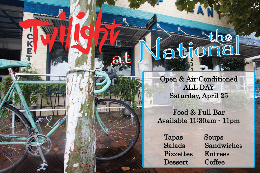 Welcome to Twilight! This year, we're located just off the track, at the corner of Hull Street and Hancock Avenue. You can beat the heat at The National without missing the action. We're serving up food in the dining room, bar & on the patio all day long, with a full bar and, of course, air conditioning! Join us from 11:30 am - 11 pm on Saturday, April 25 at this year's hot corner! On the Menu… Tapas Olives Hummus Patatas Bravas Stuffed Dates Iberico Chorizo Rosalyn Carter's Cheese Ring 3-Cheese Plate Soup & Salad Mushroom Bisque Cucumber Gazpacho Spring Salad Seared Tuna Niçoise Salad Chicken Salad Sandwiches & Pizzette Turkey Burger Lamb Leg Sandwich Pizzettes   Available after 5 pm Entrees Twilight Vegetable Plate   Fish of the Day  Available after 5 pm   Hanger Steak  Available after 5 pm   For reservations, call 706-549-3450 or email at reservations@thenationalrestaurant.com