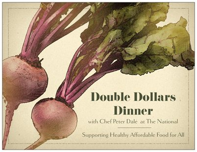 "Share an evening celebrating local food with Athens Land Trust and Chef Peter Dale, all in the name of supporting healthy affordable food for all! Each of the five courses feature local food and a wine pairing. Proceeds will be used for the doubling of Federal and State nutrition benefits.       Sunday, April 27  6pm  at The National  $120 per person, $70 of the ticket price is tax deductible  please R.S.V.P to Nathan Shannon at nathan@athenslandtrust.org        On the menu…     Salad of market greens and vegetables with a peanut ""ricotta"" and peanut vinaigrette      Chilled spring pea soup with crème fraiche, carrot and mint      Mushrooms on toast sauteed with green garlic, toasted Independent Bread and preserved egg yolk      Grilled Anderson Farms pork chop with crisp polenta cake, braised greens and onions agro dolce      Almond Cake with vanilla gelato and strawberries steeped in cane syrup"