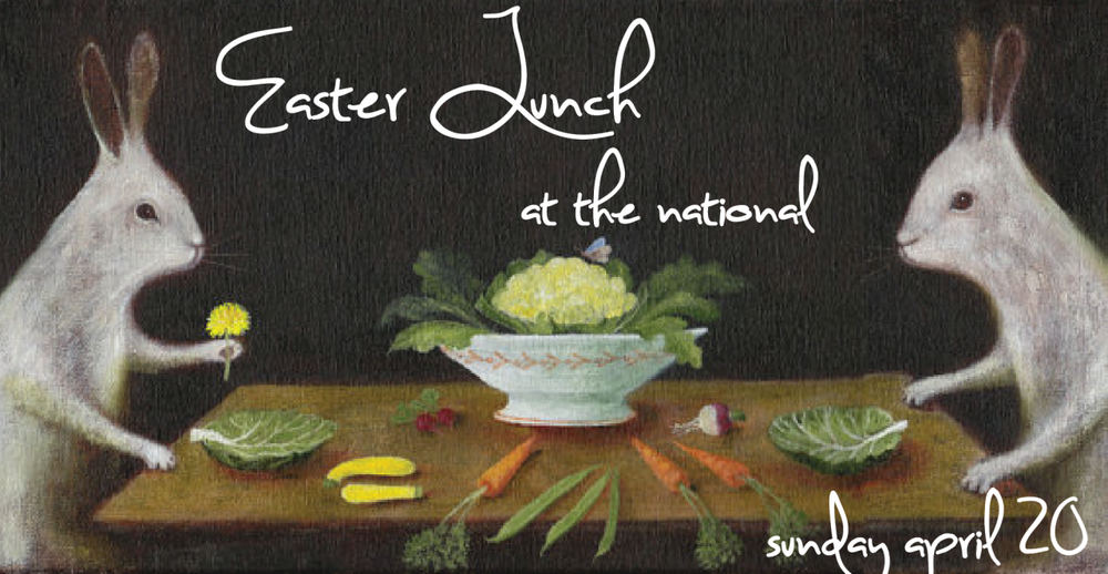 Easter Lunch at The National featuring a menu highlighting the best of the fresh spring bounty Sunday, April 20, 2014 11:30-2:30 pm Served Family-Style local lamb chops, marinated & grilled, wilted spinach, mint salsa crab rillette, pickled carrot, buttered toast points asparagus, sauce gribiche roast potatoes, herbs, preserved lemon olive oil cake, whipped mascarpone, strawberries $32 per person for reservations, call 706-549-3450 or email reservations@thenationalrestaurant.com