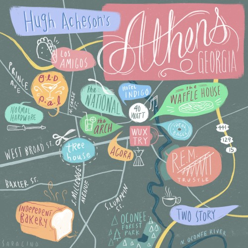 Hugh Acheson has certainly revolutionized the food scene in Athens, Ga since the launch of his flagship Five & Ten. Almost 14 years later, the fantastic food options (and other pleasures) are numerous. Even the change since the last Athens city guide is remarkable… This weekend, let him tour you around our fair city with this guide brought to us by Design Sponge. Read his full story here. 7:45 am: Independent Bakery, for a quick morning coffee and a fresh baguette. 9:30 am: Waffle House for some mid-morning waffles and a small order of well-done hash browns, smothered. 10:25 am: A walk to The Arch – while walking downtown, to contemplate greatness – on the way to Wuxtry to grab some tunes and see a flyer for a show at the 40 Watt. 11:17 am: The REM Trestle for a break from the hustle and bustle. 12:35 pm: Delicious Tacos: for delicious tacos. (It's really called Los Amigos, but Delicious Tacos are what I eat.) 2:30 pm: Two Story for a mid-day writing session with a good cappuccino. 7:00 pm: Dinner at my restaurant, The National. I will enjoy fabulous vittles with Mediterranean sensibilities created by my pal Peter Dale. …speaking of pals… 8:30 pm: Old Pal to sit at the bar and drink some bourbon. 10:00 pm: End up at 40 Watt to wrap up the day with a show. We'll see you at 7 o' clock!